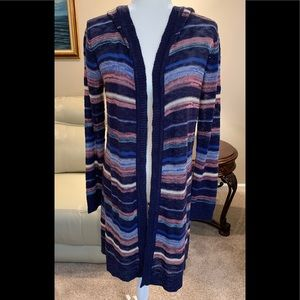 Long multi color sweater with hood